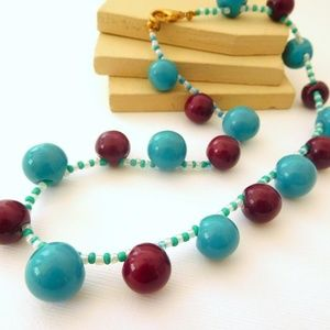 Jewelry - Turquoise Maroon Red Glass Bead Choker Necklace